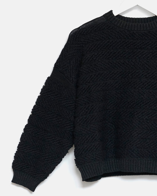 Loop Pullover in Black Melange