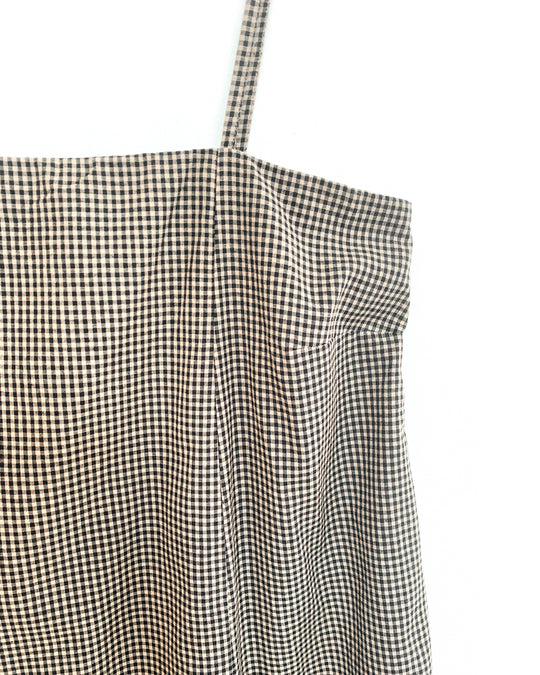 Straight Pleated Dress in Gingham