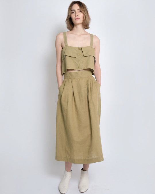 Ellis Pleated Skirt in Moss