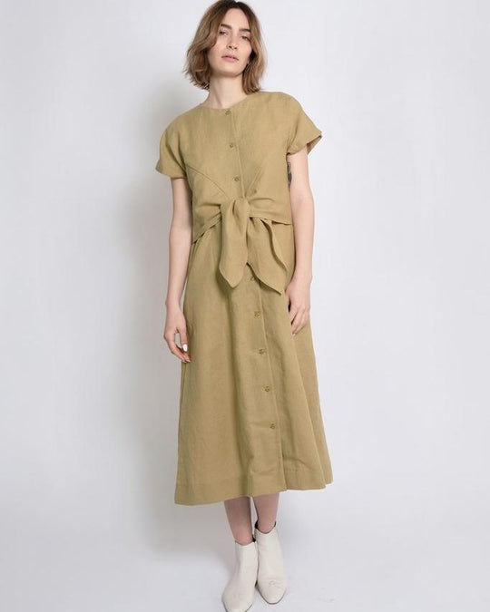 Knotted Dress in Moss