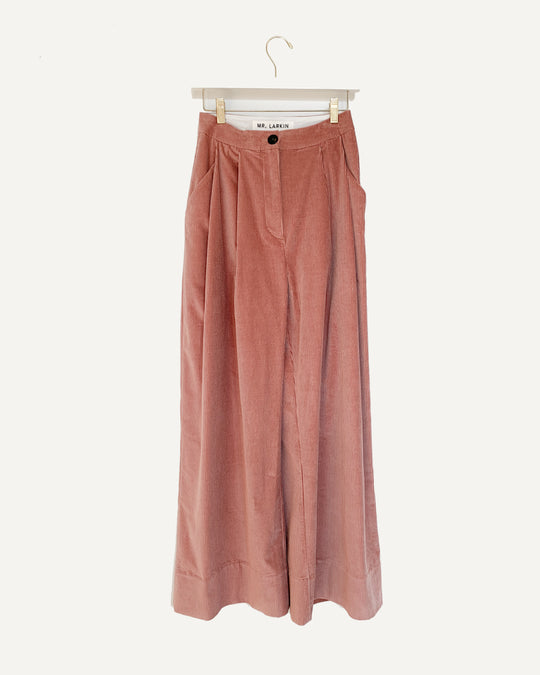 Babe Wide Cord Pant in Dusty Pink
