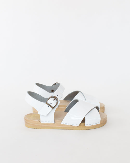 Coco Cross Front Sandal in White Patent