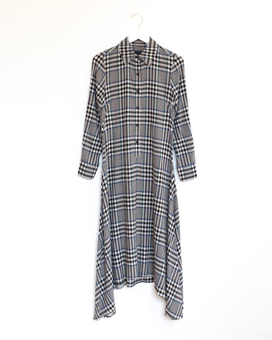Campden Dress in Black/Cream Plaid