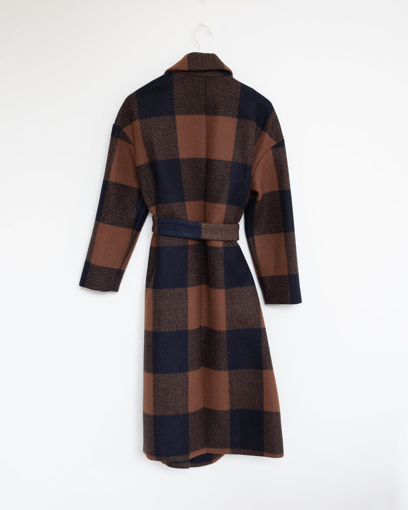 Ingrid Wrap Coat in Ochre/Navy