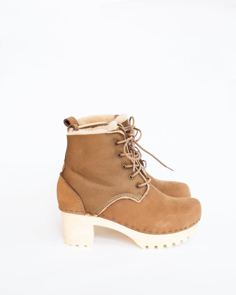 Lace Up Shearling Boot in Honey