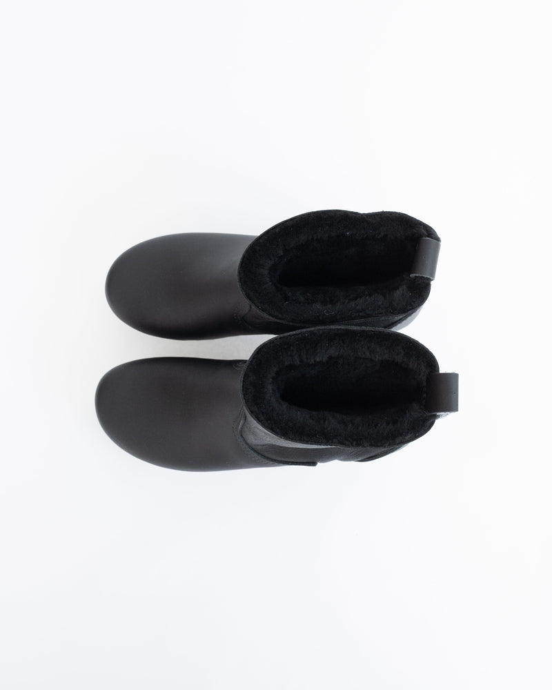 Shearling Clog Boot in Double Black