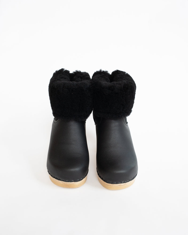 Shearling Clog Boot in Black Suede