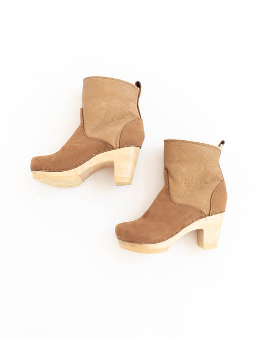 Shearling Clog Boot in Honey Aviator High