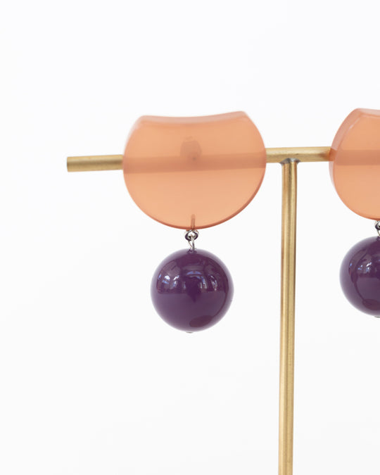 Hoon Earrings in Brown & Purple