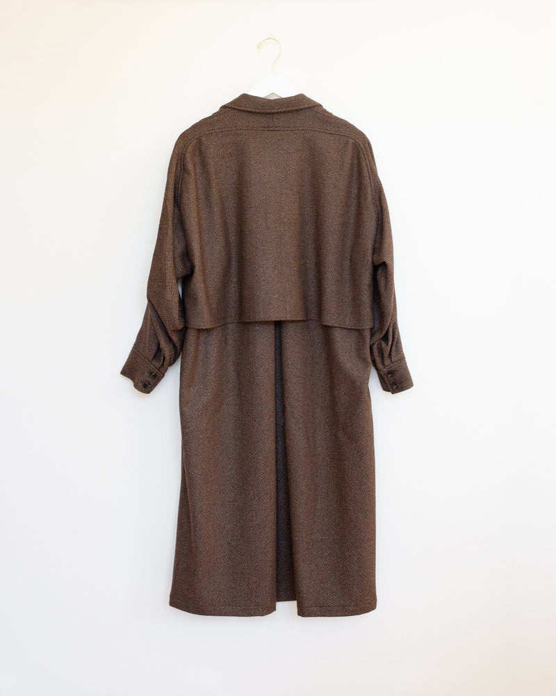 Wander Trench in Brown Wool