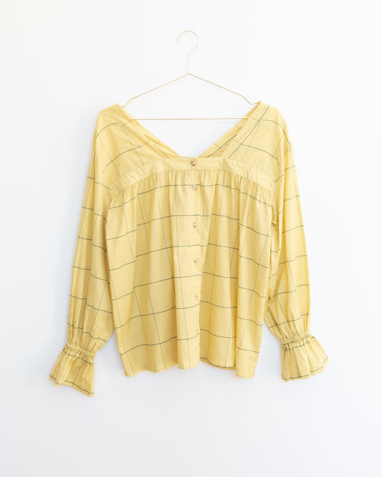 Kali Top in Banana Plaid