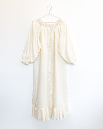 Linen Lounge Dress in Baked Milk