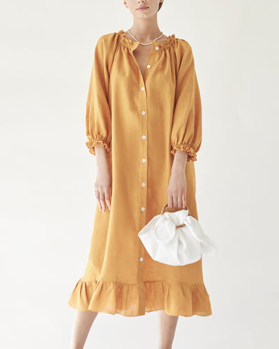 Linen Lounge Dress in Orange