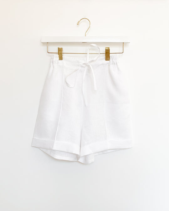 Linen Pajama Set w/ Shorts in White