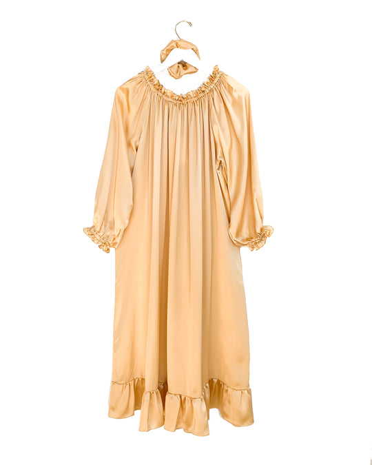 Silk Lounge Dress in Champagne