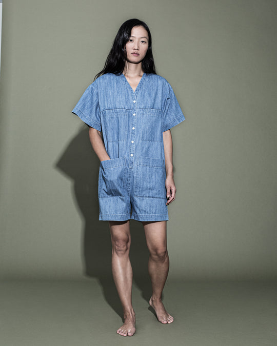 Tuck Romper in Faded Denim