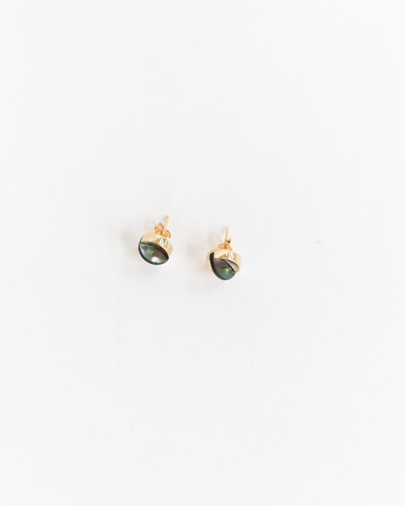 Aten Studs in Black Mother of Pearl & Gold