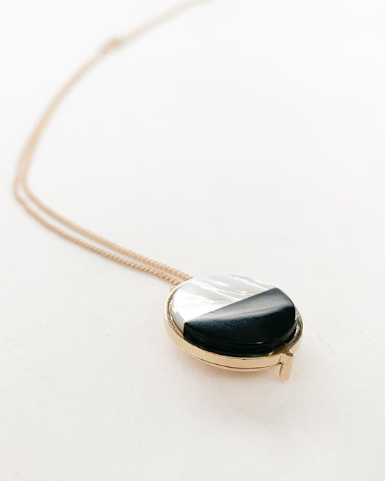 Mini Stone Locket in Pearl & Onyx