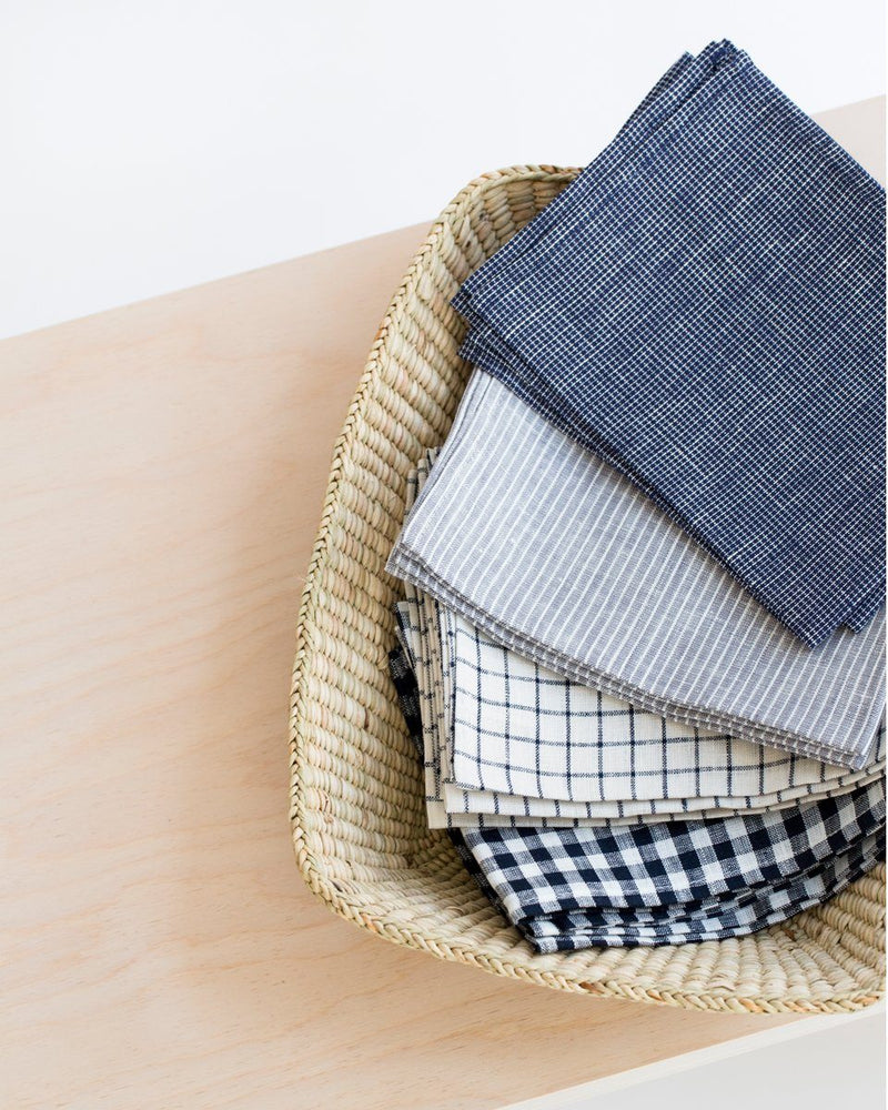 Linen Kitchen Cloth in Navy/White Check