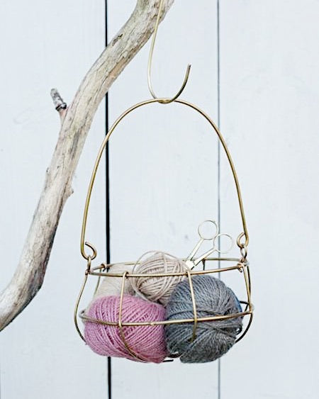 Medium Brass Hanging Basket