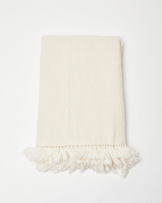 Cotton Throw in Eggshell