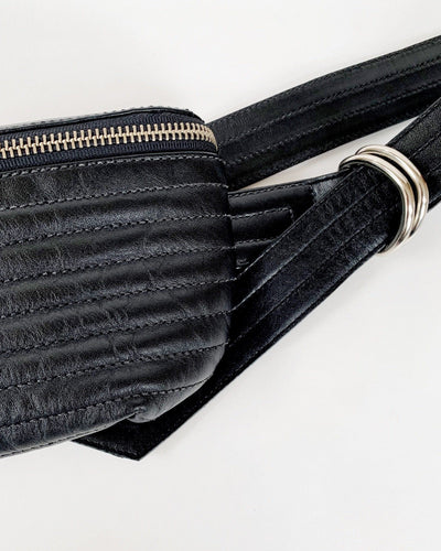 Ribbed Fanny Pack in Black