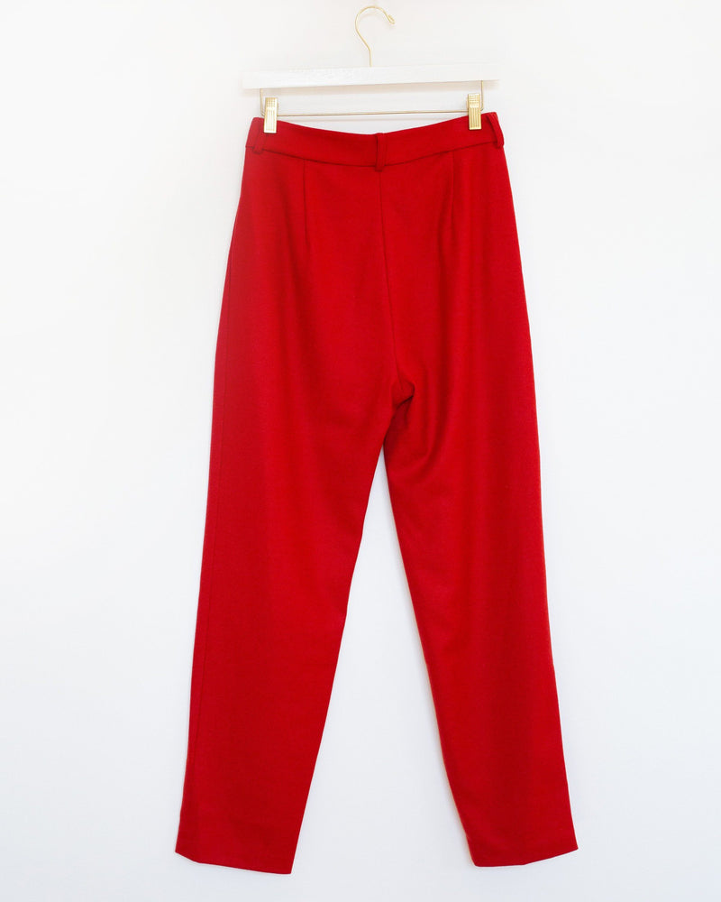 Justin Pleated Pant in Red Wool