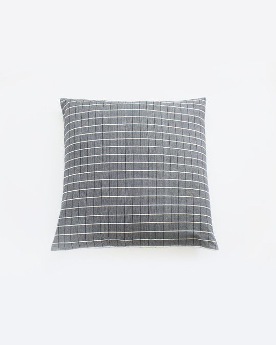 Navy & Natural Grid Pillow
