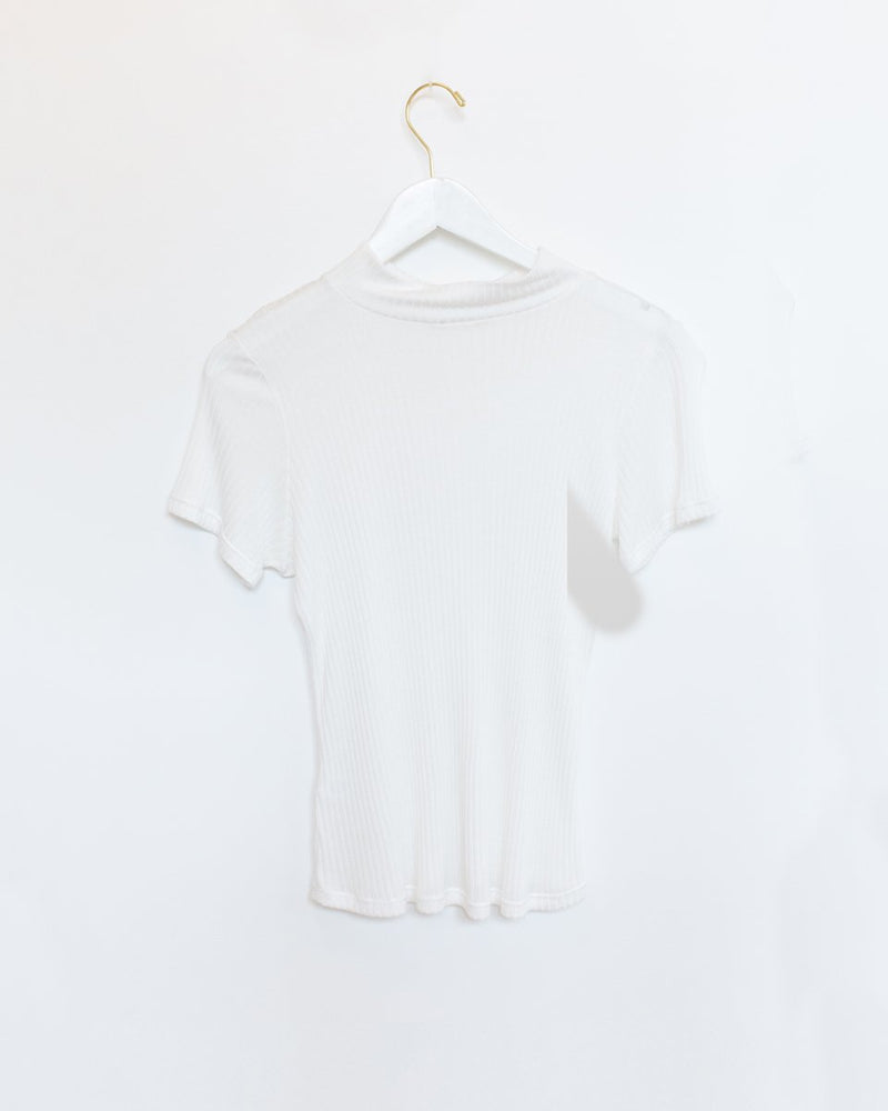 Mock Neck Tee in Buff