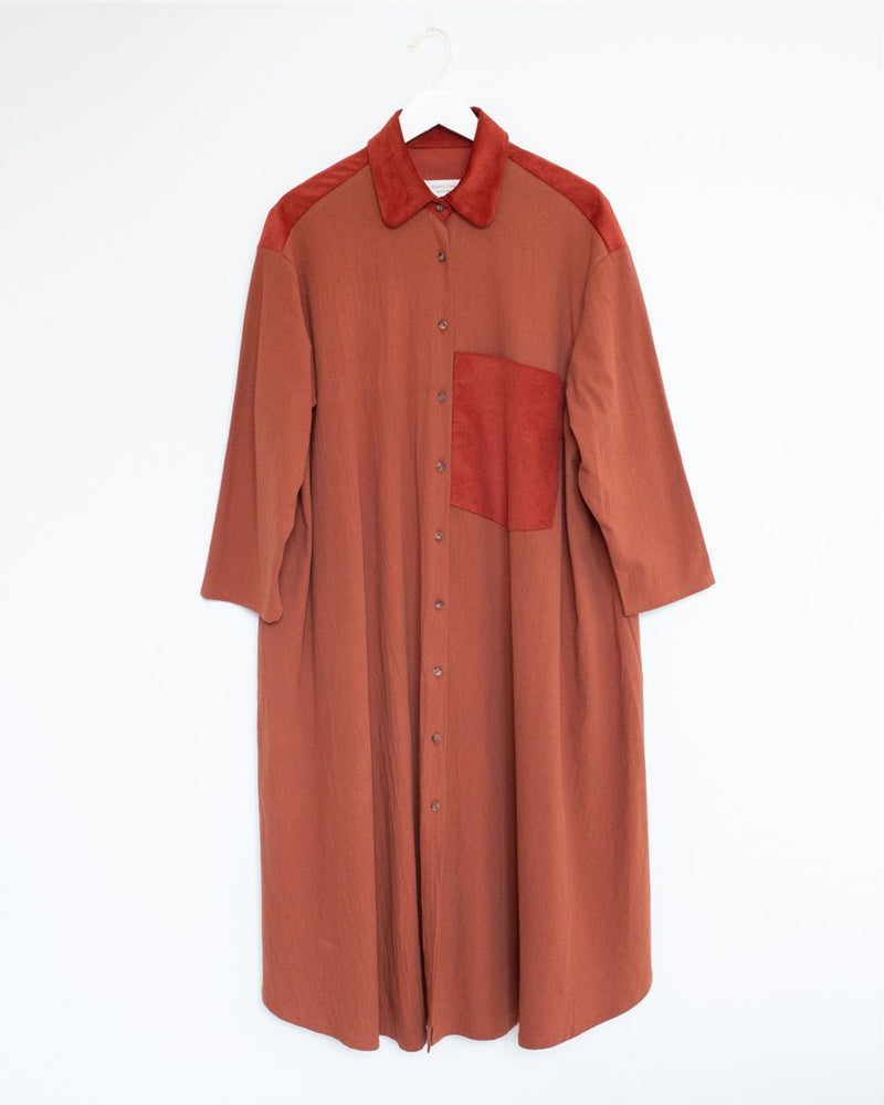 Shirt Dress in Cinnamon