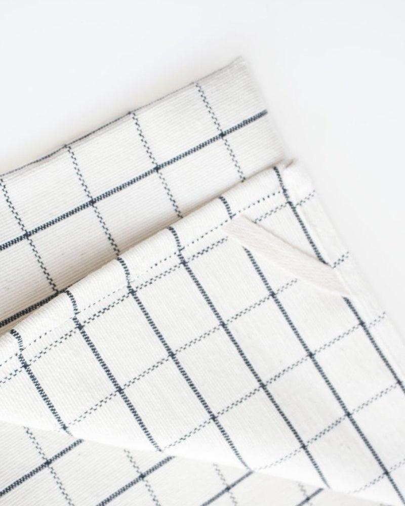 Natural & Navy Cotton Grid Tea Towel