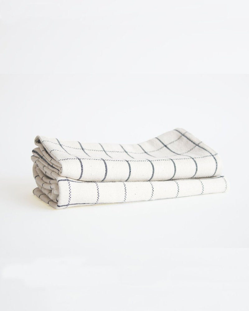 Natural & Navy Cotton Grid Napkin