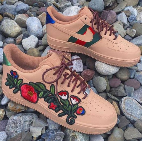 (New Release) Custom Made Nike Air Force 1 Ace Floral Gucci Sneakers
