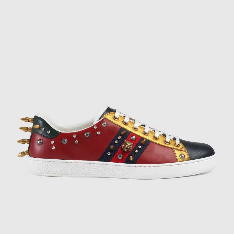 Gucci Ace Studded Leather Low-Top Sneaker