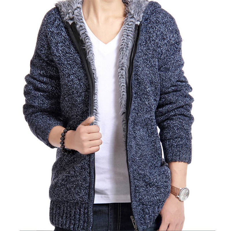 Men's Thick Velvet Cotton Hooded Fur Jacket