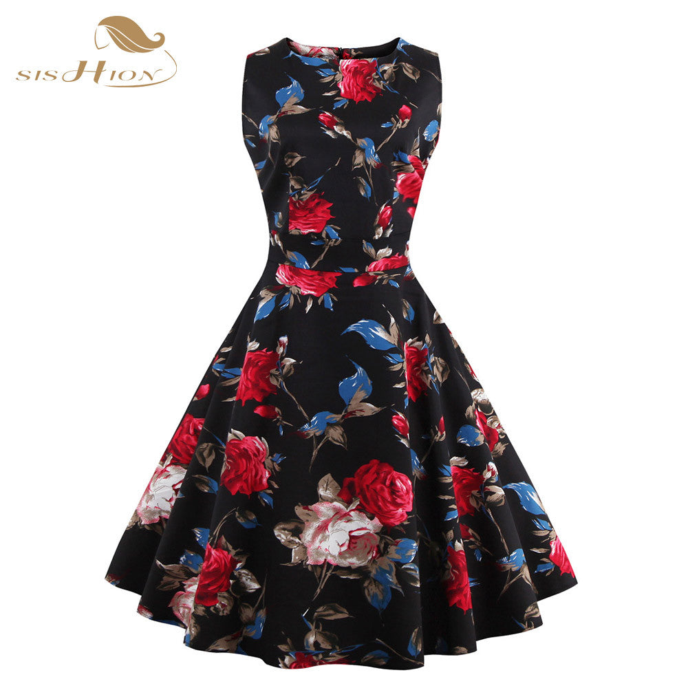 Floral Print Retro Casual Pinup Rockabilly 50s Vintage Dress