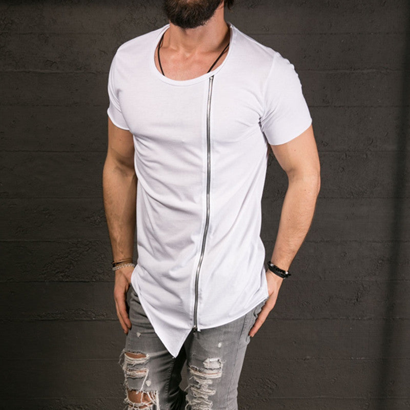 Stylish Big Neck Short Sleeve Zipper T-Shirt