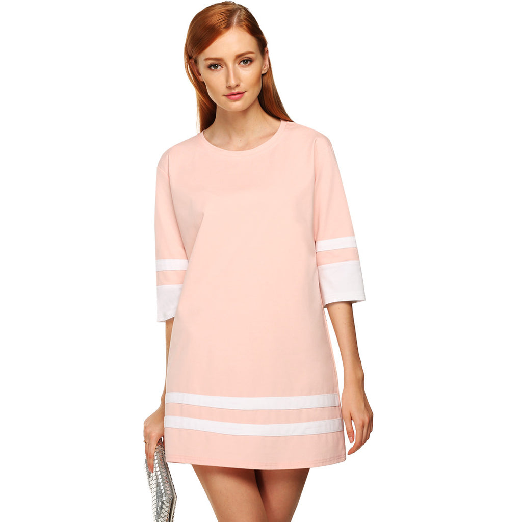 FINEJO Casual Short Solid 3/4 Sleeve Dress