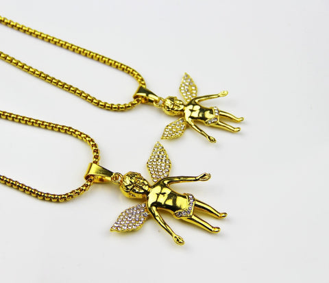 24K Gold Plated Charm Boy Micro Angel Piece Necklace