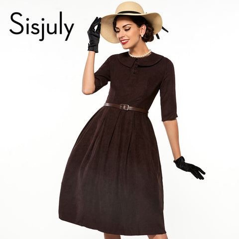 Sisjuly Vintage Lapel Half Sleeve Dress
