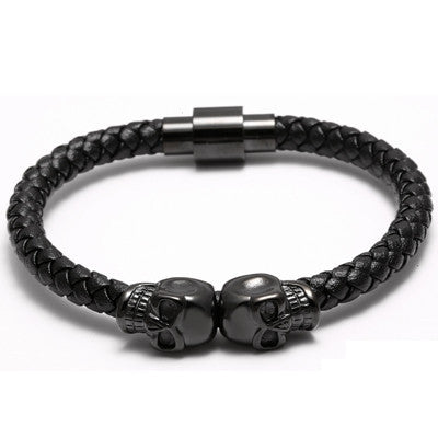 Men Stainless Steel Handmade Black Leather Skull & Bangles Wrap Bracelet