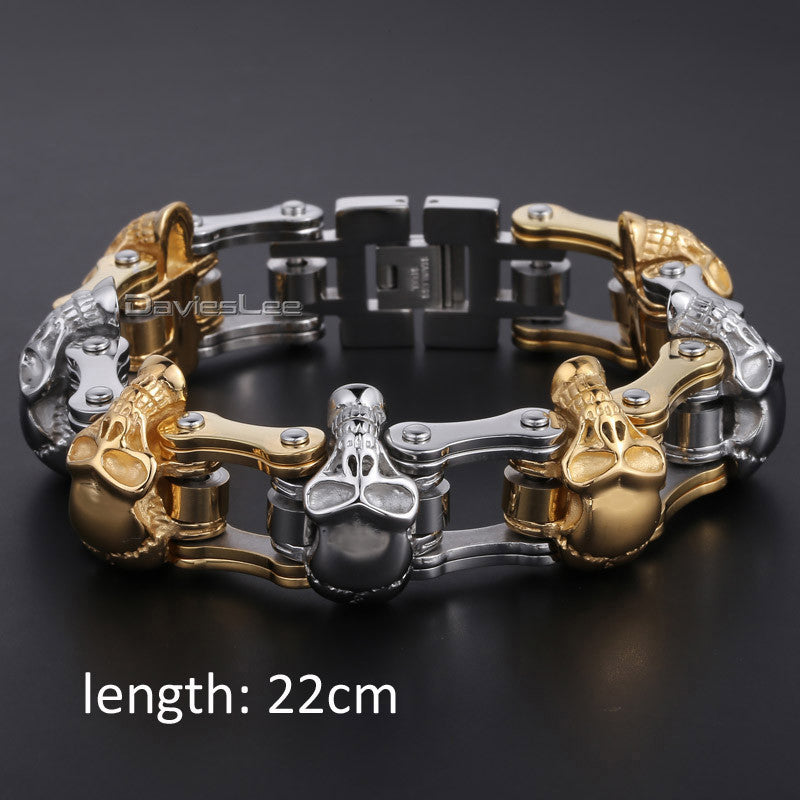 Men's Skull Black Gold Sliver Mens Bracelet