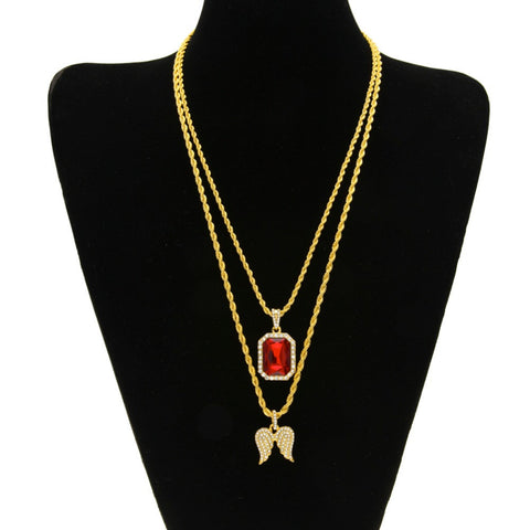 Gold Plated Angel And Iced Out Red Rhinestone Pendant Necklace