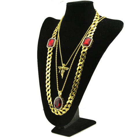 3 Pieces Gold Plated Chain Necklace Combo Set Angel