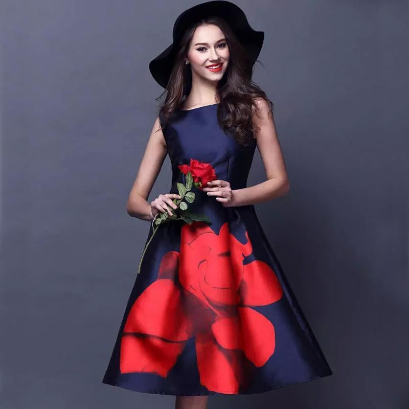 Fourkings Elegant Flower Print O-Neck Retro Dress