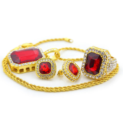 Gold Plated Jewelry Set Rhinestone Square Crystal Rings With Stud Earring Pendant Necklace 3pcs Set