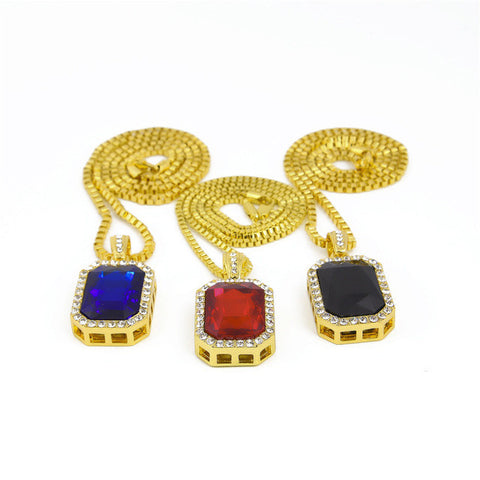 Gold Plated Rhinestone 3pcs Square Red Blue Black Crystal Pendant Necklace Set