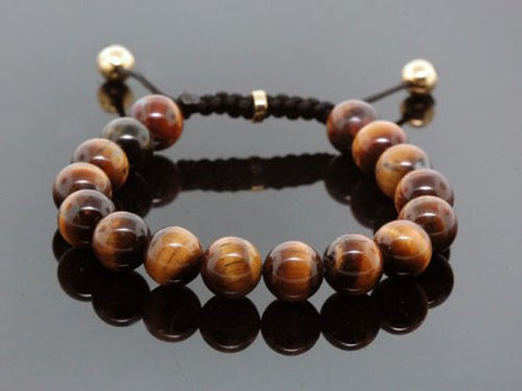 Handmade Tiger Eye Beaded Shamballa Men's Bracelet