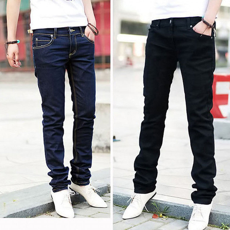 Men Casual Pencil Jeans Straight Slim Fit