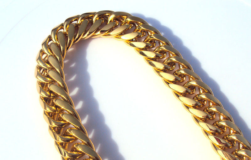 Heavy MENS 24K SOLID GOLD THICK MIAMI CUBAN LINK NECKLACE 11mm 118G
